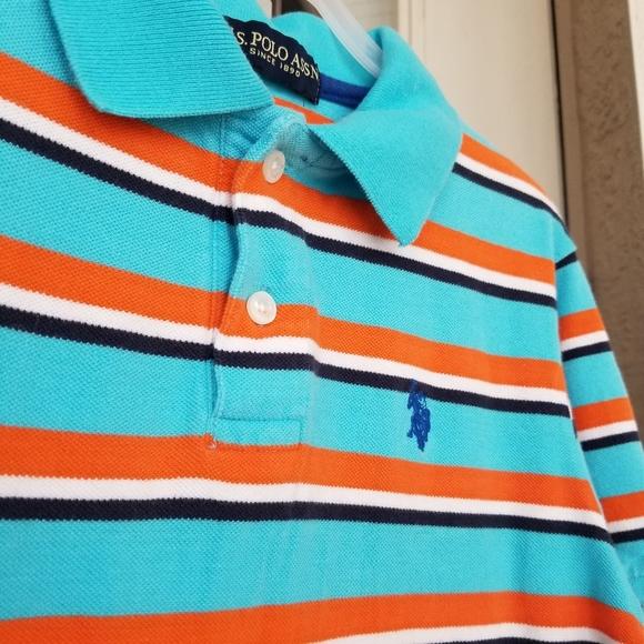 US Polo Assn Boys S//S Orange /& Blue Polo Size 4